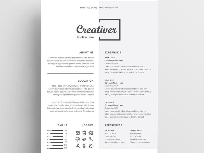 Resume Cv Template By Resume Templates On Dribbble