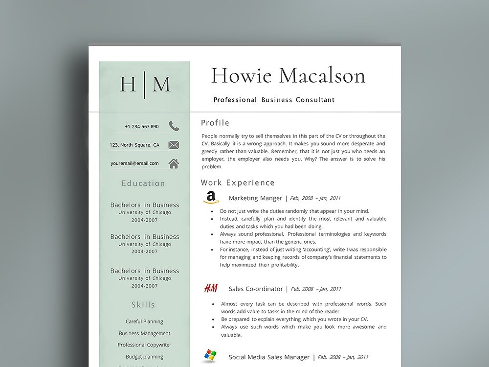 Resume Template With Logos By Resume Templates On Dribbble