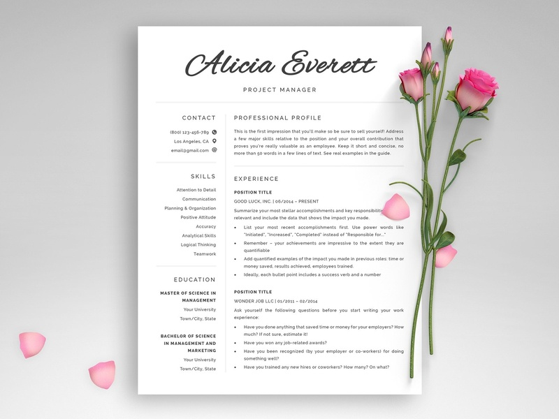 """1, 2 & 3 Page Resume / CV """"Alicia"""" us letter word template design modern cv minimal doc minimal resume a4 template clean resume professional resume curriculum vitae professional creative resume modern resume cv template modern resume resume template cv"""