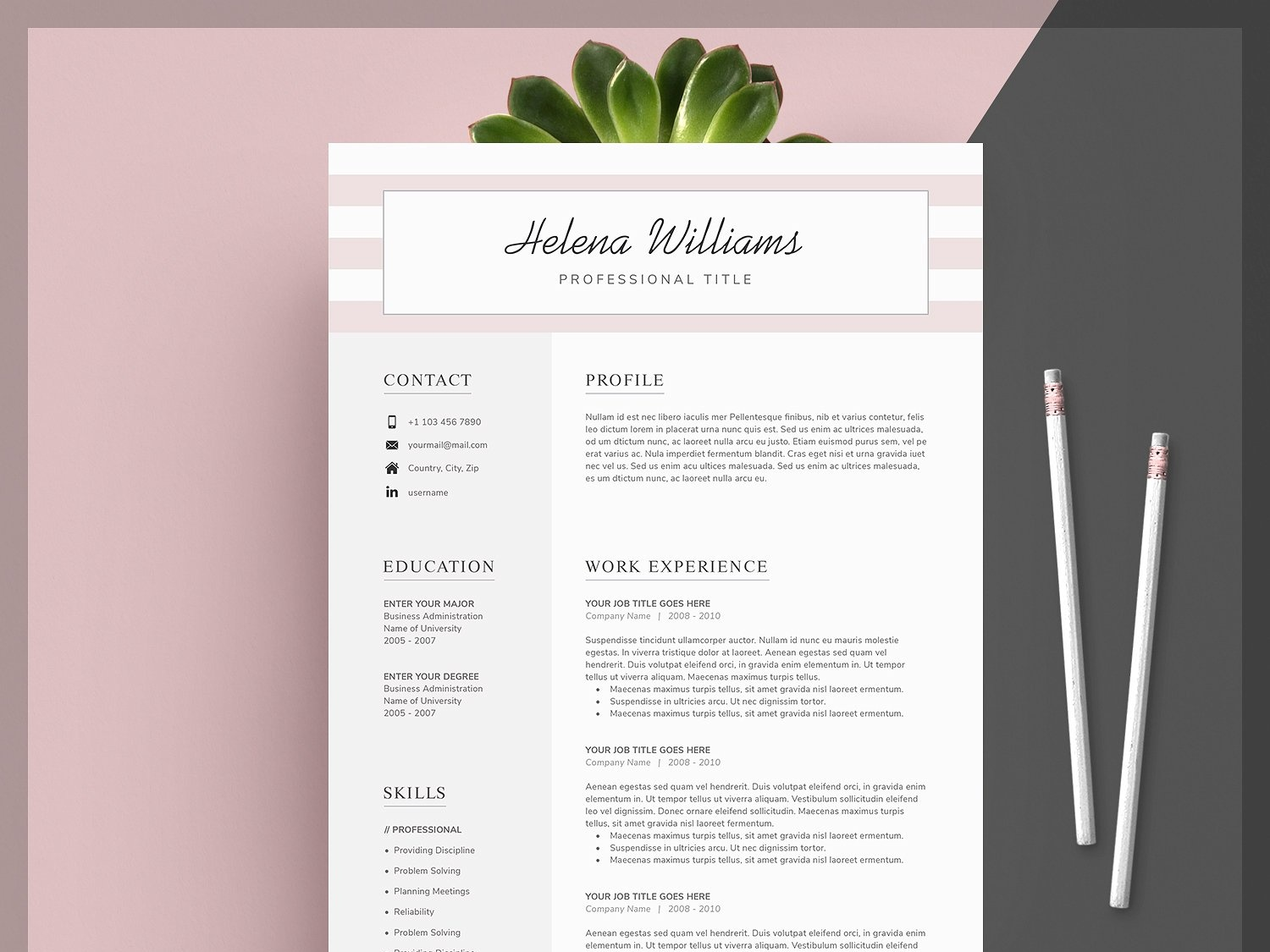 Word Resume Cover Letter Template Us Design Modern Cv Minimal Professional