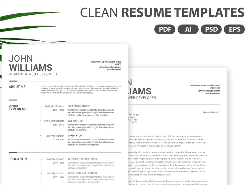 Clean Resume Templates By Resume Templates On Dribbble
