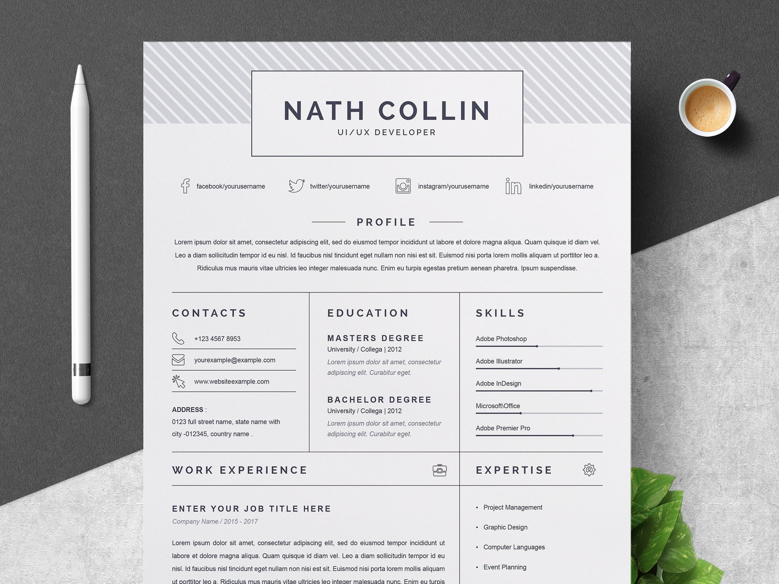 One Page Resume / CV Template by Resume Templates | Dribbble | Dribbble