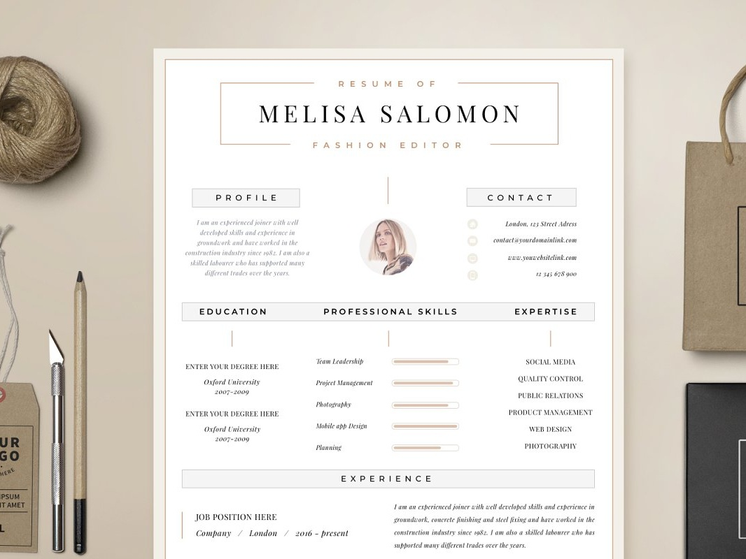 Resume Template 1 Page Zurich By Resume Templates On Dribbble