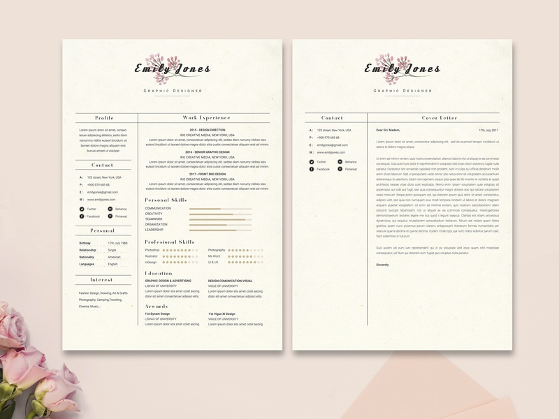 Floral Resume CoverLetter Template C