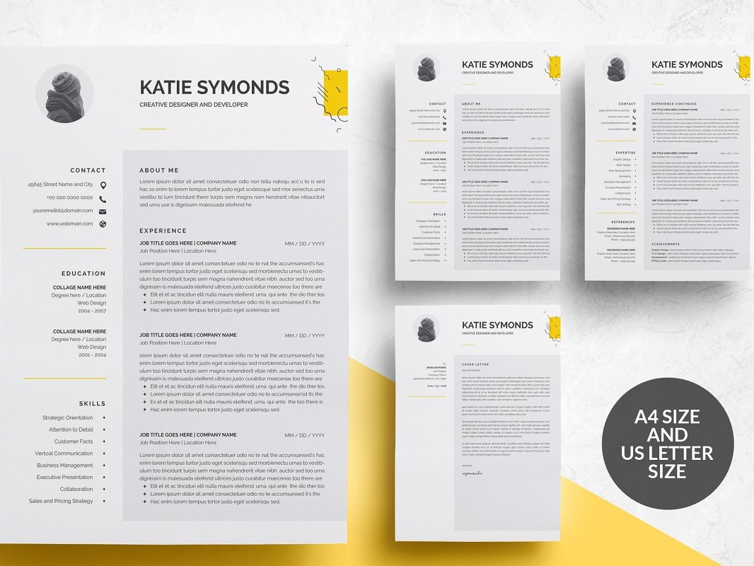 3 Pages Resume Template/CV by Resume Templates on Dribbble