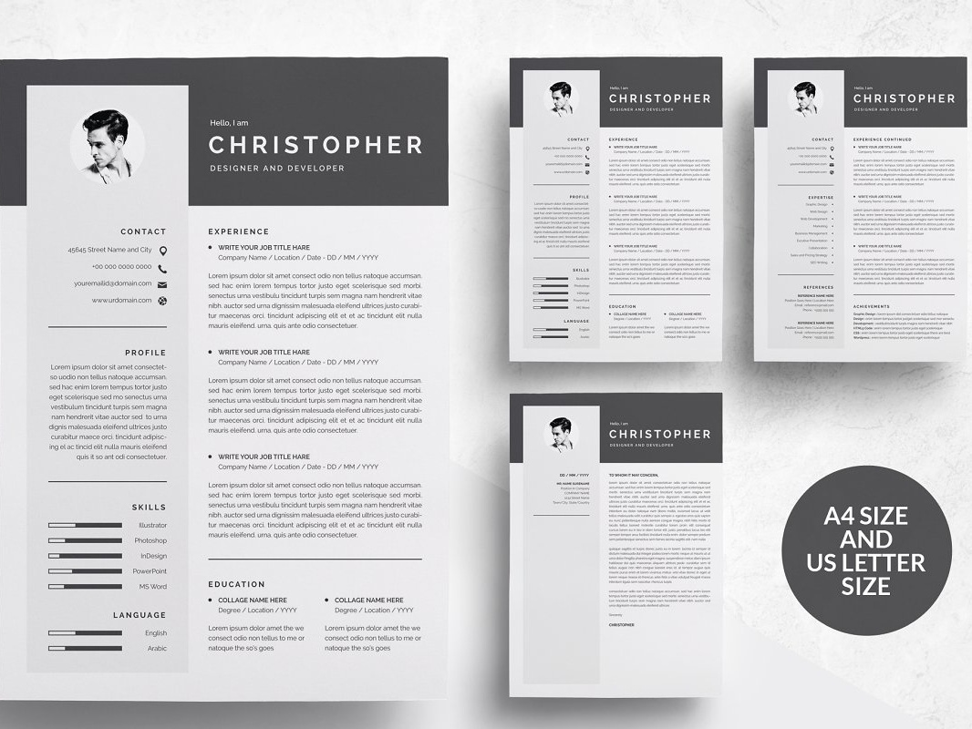 3 Pages Modern Resume Template CV Word Design Cv Templates Minimal Professional