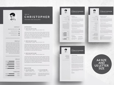 3 Pages Modern Resume Template/CV word template design modern cv resume templates minimal professional resume doc minimal resume a4 template clean resume curriculum vitae professional creative resume modern resume cv template modern resume resume template cv