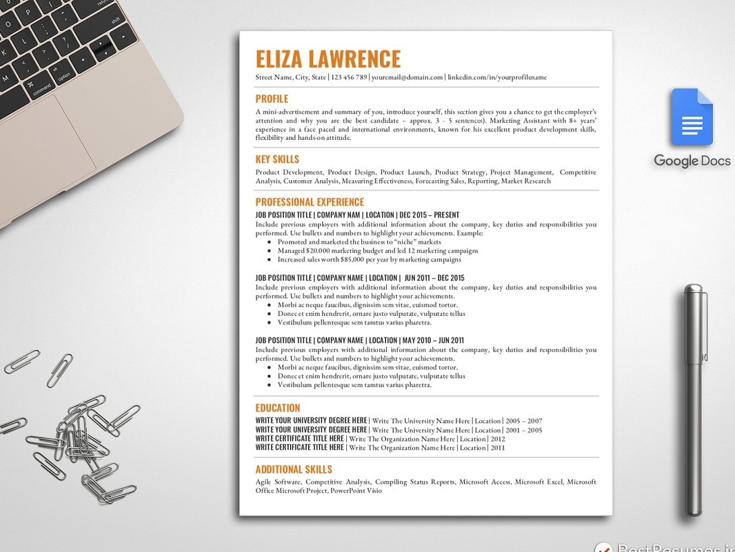 Google Docs Resume Template Us Letter Word Design Modern Cv Minimal Professional Doc