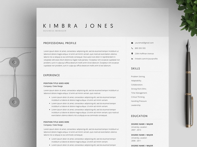 Resume Template / 4 Pages CV by Resume Templates | Dribbble | Dribbble
