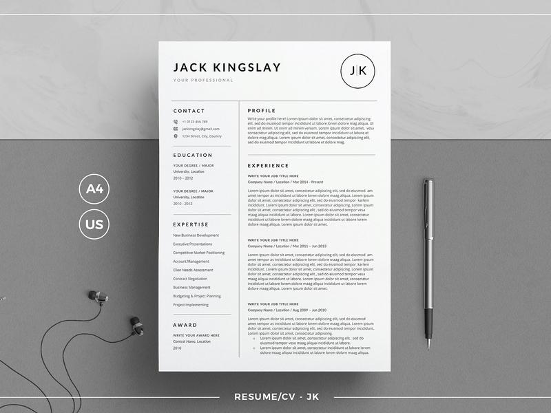 Resume/CV - JK cv tempate cv resume clean resume resume templates word template modern cv minimal professional resume minimal resume template curriculum vitae creative resume modern modern resume cv template resume template cv resume professional clean