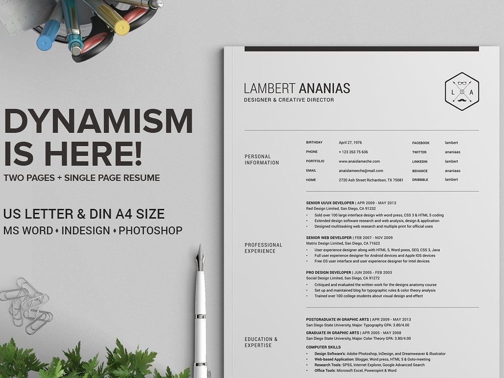 2 pages resume cv pack lambert by resume templates dribbble