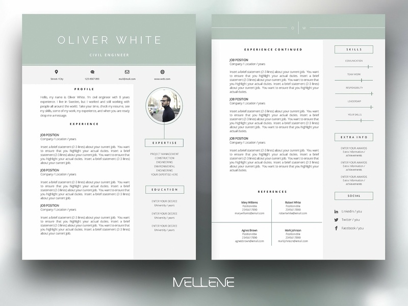 Cv Resume Template For Ms Word By Resume Templates Dribbble