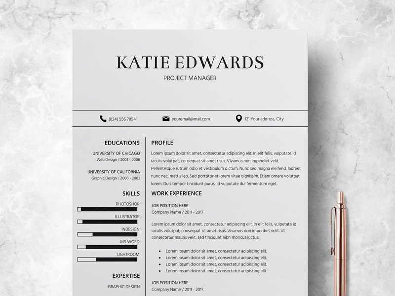 Resume CV Template Cover Letter By Resume Templates Dribbble