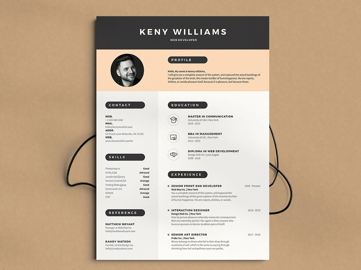 Modern Resume Cv Template By Resume Templates On Dribbble