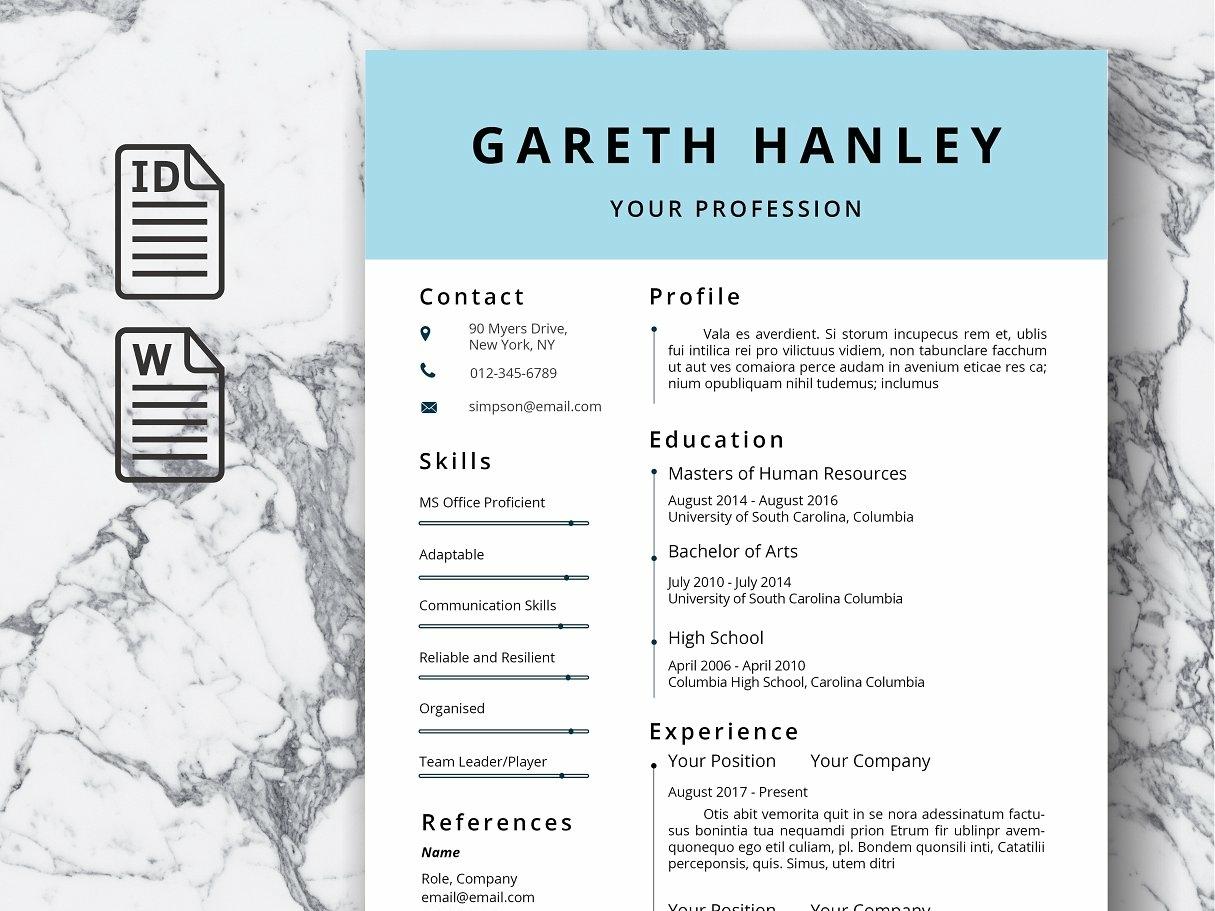 Resume Template Cv Us Letter Design Word Modern Doc Minimal A4 Professional
