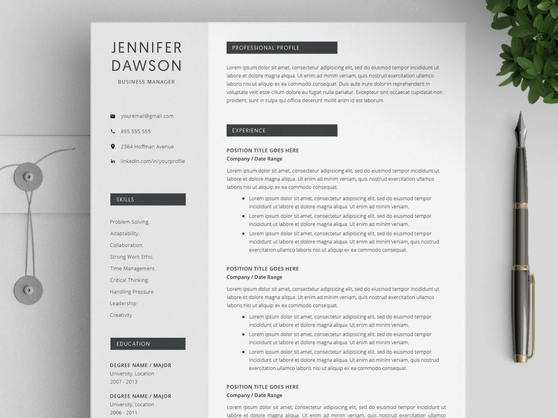 Resume Template Word / 4 pages by Resume Templates | Dribbble | Dribbble