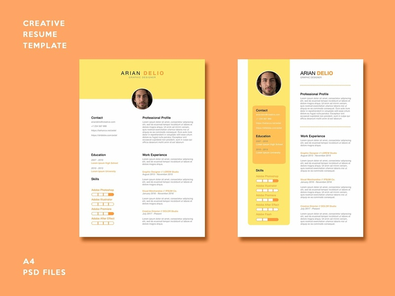 Creative Resume Template By Resume Templates On Dribbble