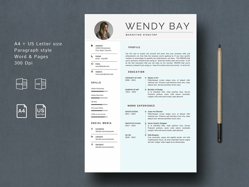 3 Pages Word Resume Template By Resume Templates On Dribbble