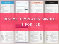 Resume Templates Bundle | 4 Pages