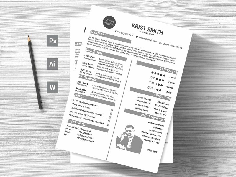 Simple Creative Cv Template Preview 08 us letter design word template modern cv doc minimal a4 professional resume minimal resume curriculum vitae template clean resume professional creative resume modern cv resume cv template modern resume resume template
