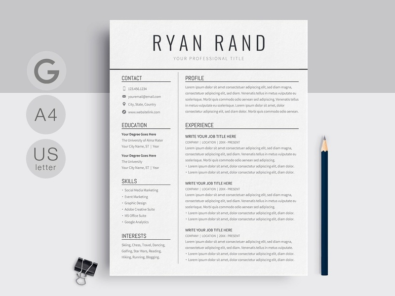 Google Docs Resume Template Us Letter Design Word Modern Cv Doc Minimal A4 Professional