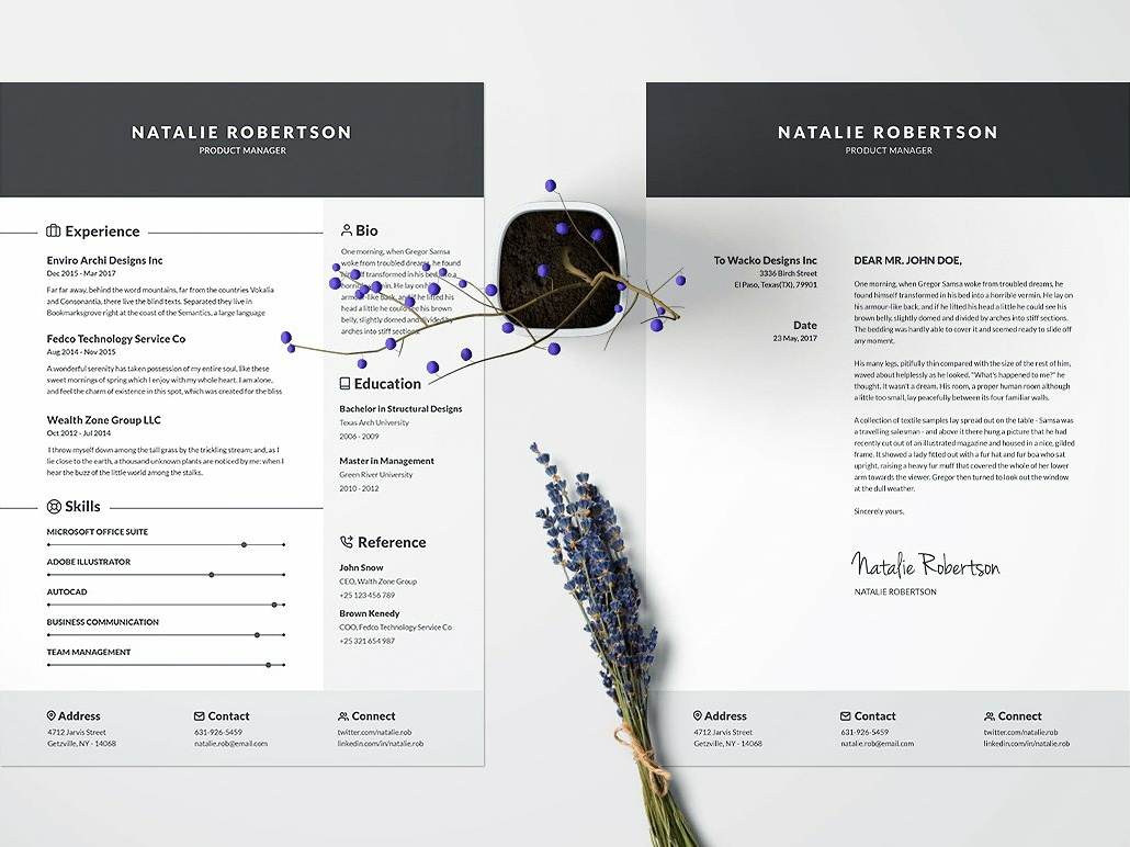 Resume/CV Template - Natalie by Resume Templates on Dribbble