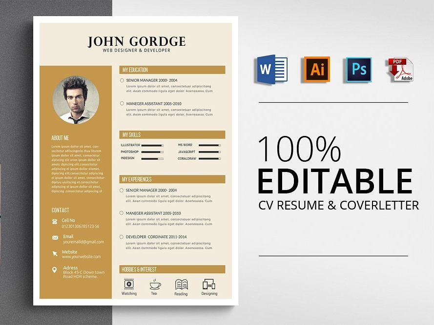 Clean Cv Resume Word Template By Resume Templates On Dribbble