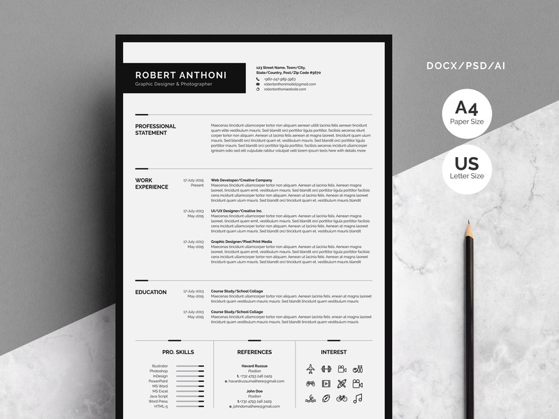 Clean Resume Template 4 Pages By Templates
