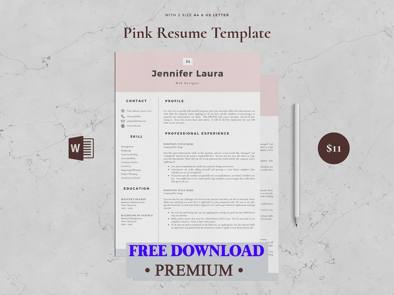 Free Premium Download Resume Template 4 Page Pink By Resume