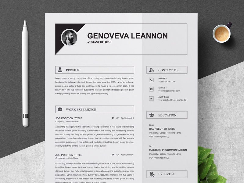 Resume Template And Cover Letter Templates Us Design Word Modern Cv Doc A4