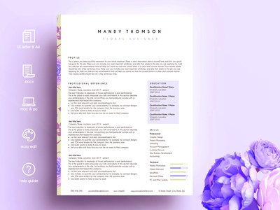 Creative Resume Template Word Floral
