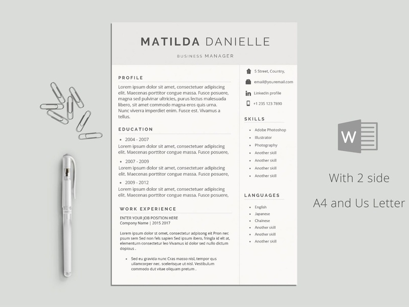 Clean Simple Modern Cv Doc A4 Minimal Professional Resume Curriculum Vitae