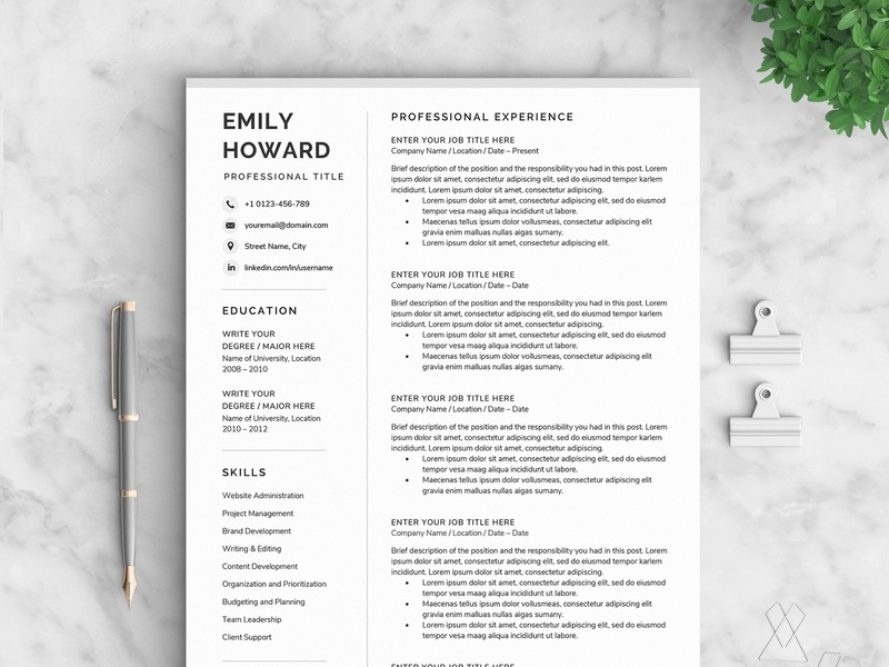Resume/CV - The Howard us letter design word template modern cv doc a4 minimal professional resume minimal resume curriculum vitae clean resume template professional creative resume modern cv resume cv template modern resume resume template