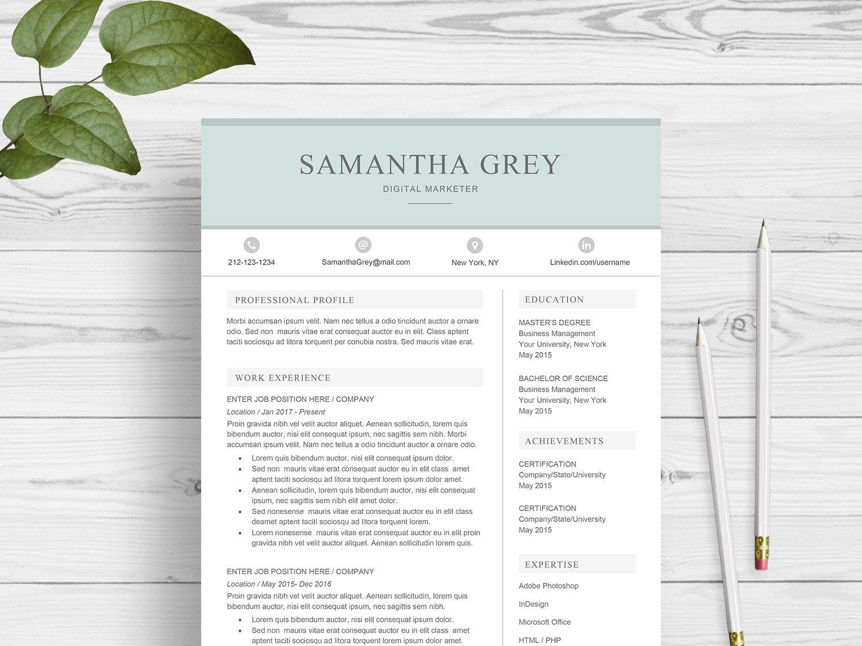 Resume Template For Word Us Letter Design Modern Cv Doc A4 Minimal Professional