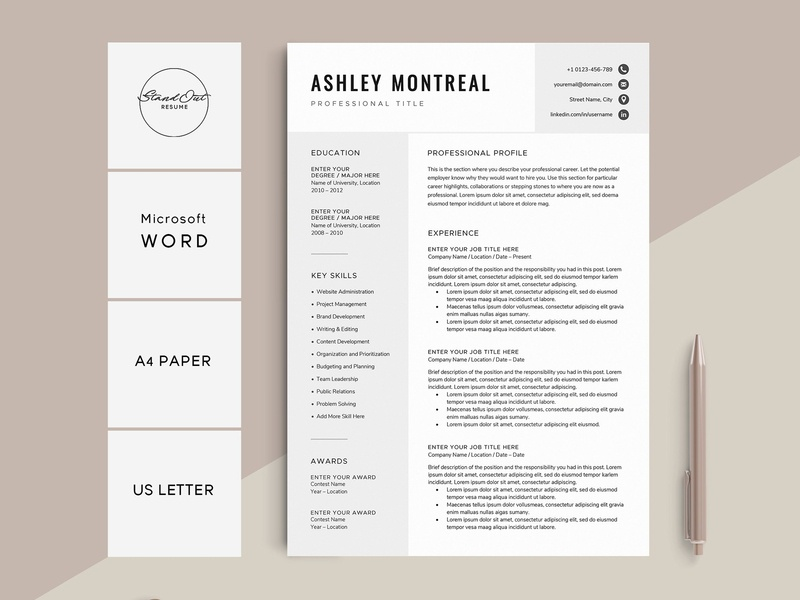 Resume Cv Template Ashley By Resume Templates On Dribbble