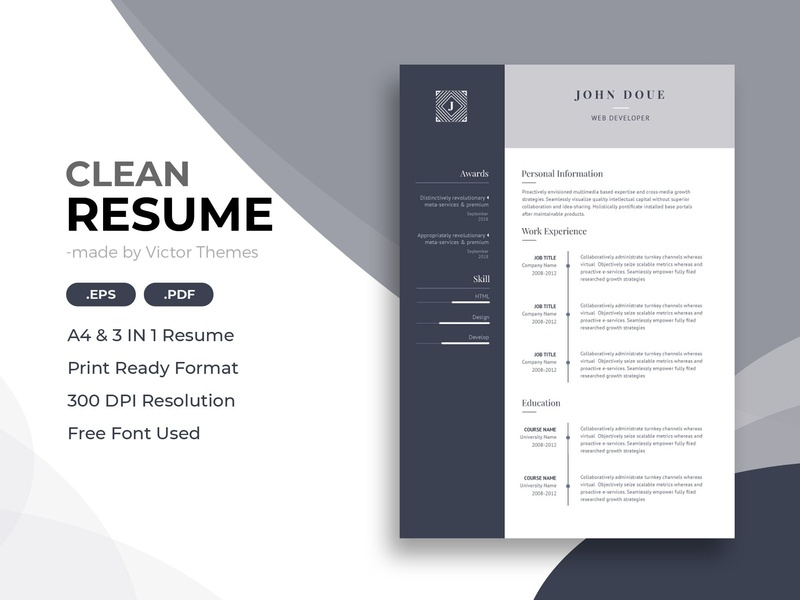 Web Developer Cv Template By Resume Templates On Dribbble