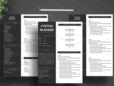 3-Page Resume / CV + Cover Letter