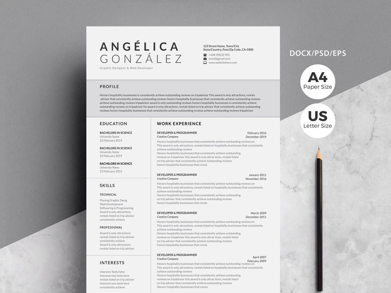Creative Professional Word Resume By Resume Templates On