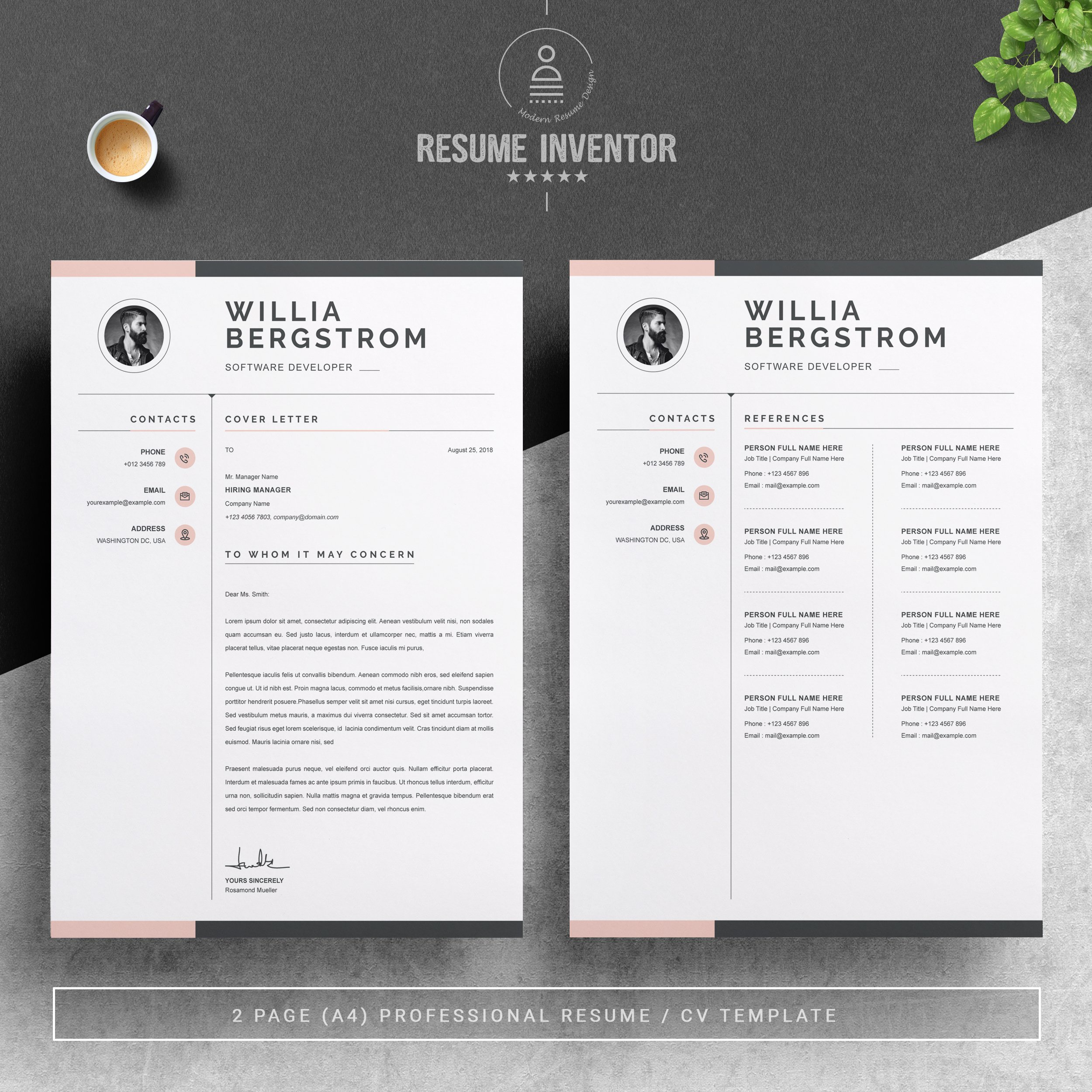 Dribbble - 03_2-pages-free-resume-design-template-.jpg by ...