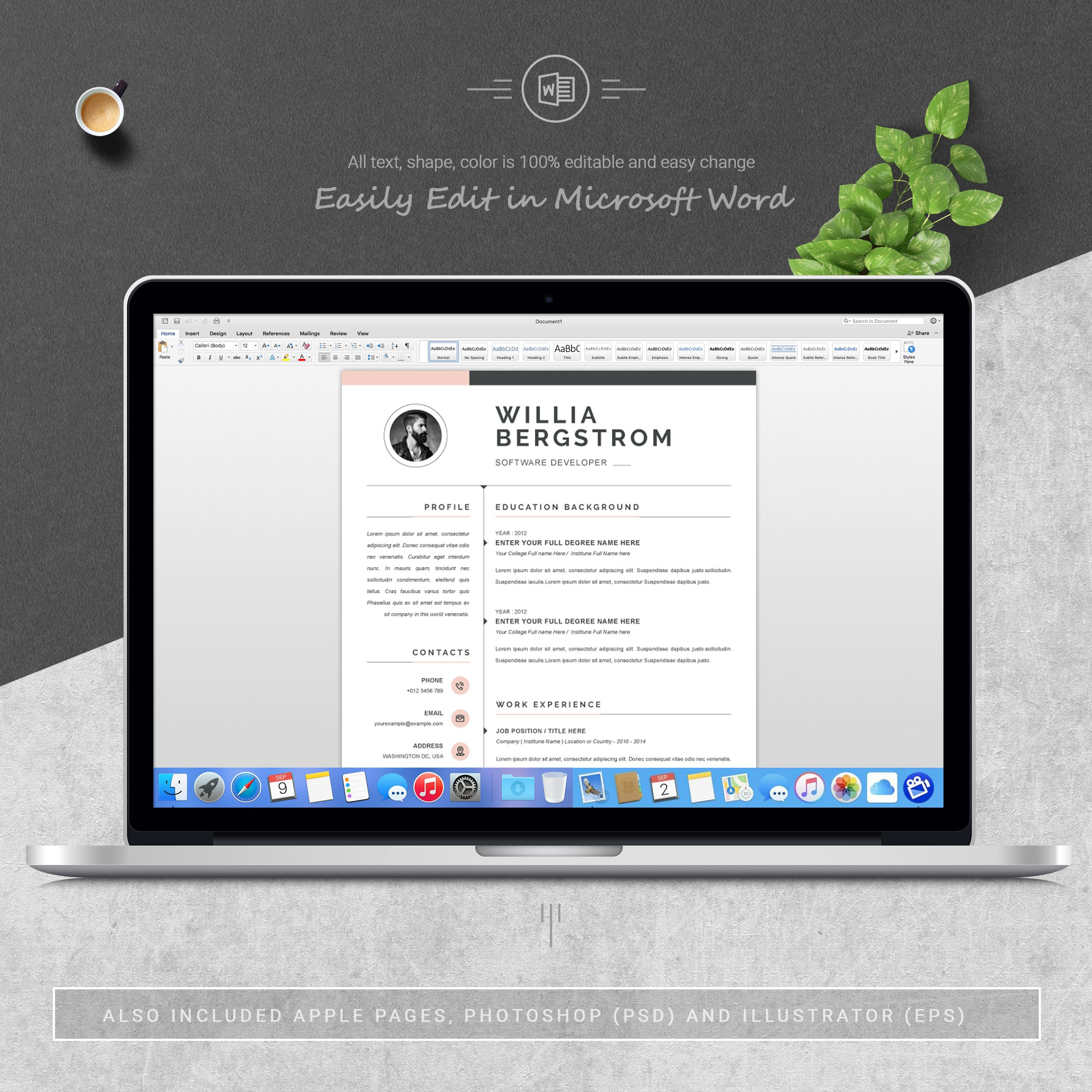 Dribbble 05 3 Pages Free Resume Ms Word File Format Design
