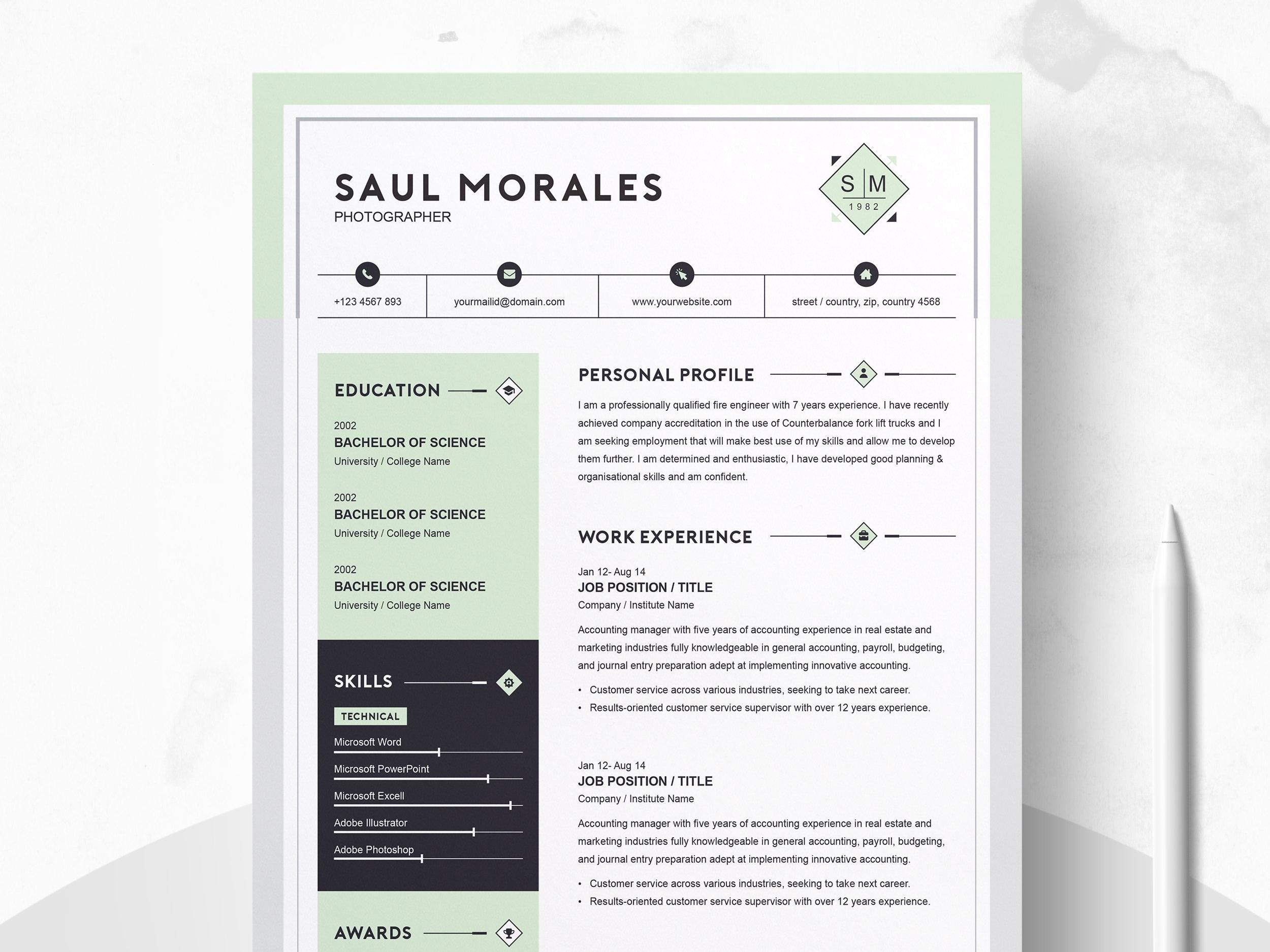 Dribbble - 01_modern-resume-template-cv-template-cover ...