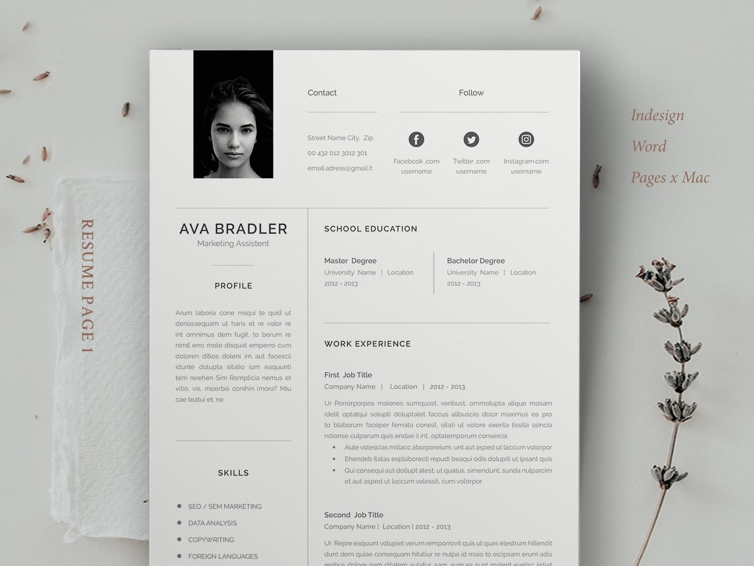 resume    cv    ava by resume templates on dribbble