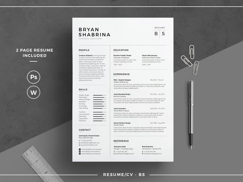 Resume/CV - BS us letter design word template doc modern cv a4 professional resume minimal minimal resume curriculum vitae template clean resume creative resume professional modern resume cv modern resume cv template resume template