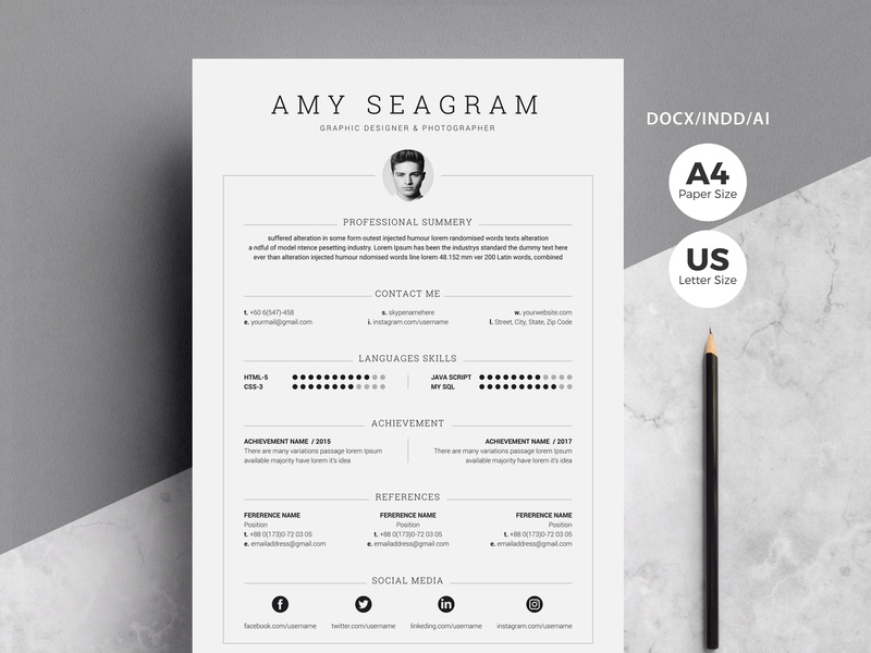 Word Resume Template | 5 Pages Pack by Resume Templates on ...