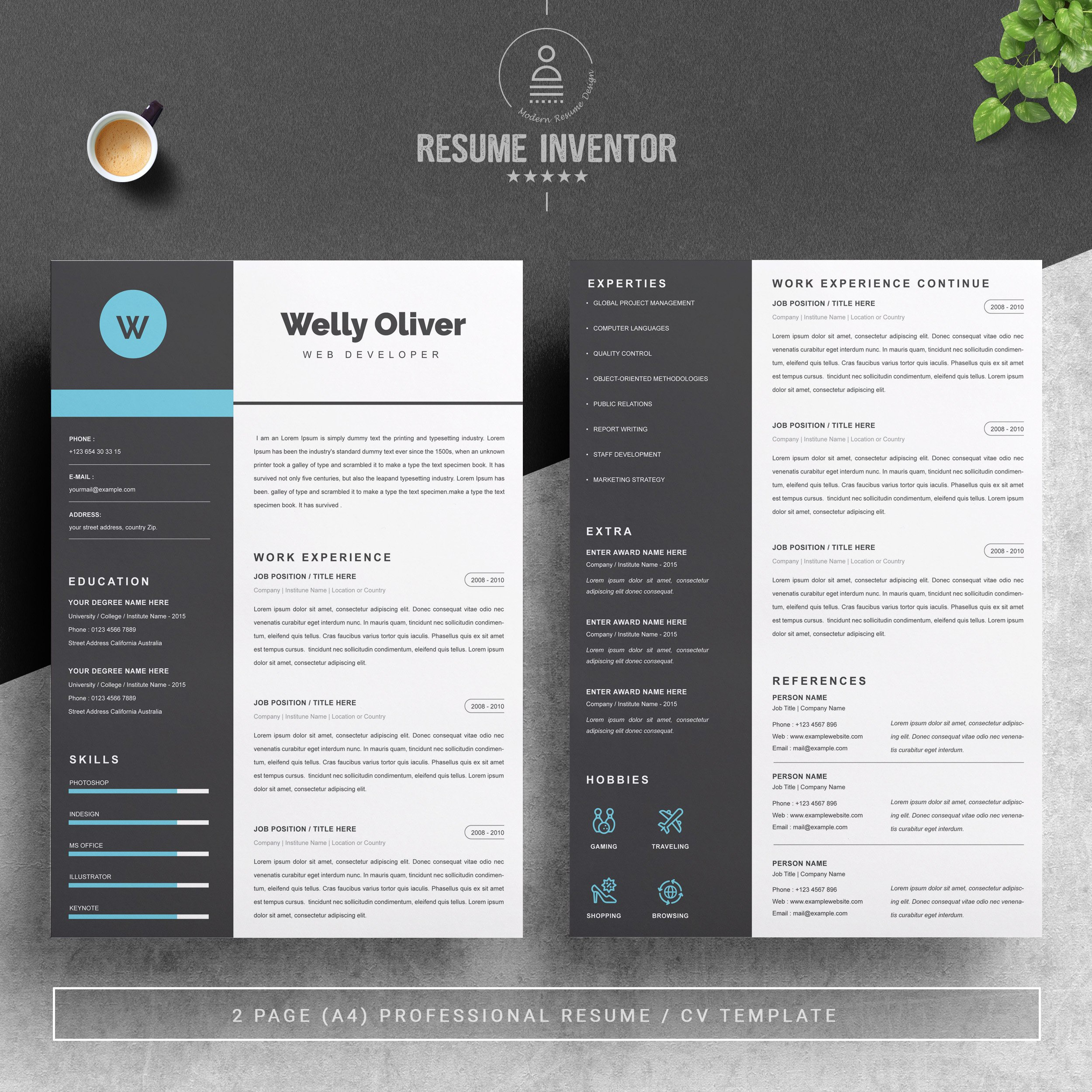 Dribbble 02 2 Pages Free Resume Design Template Jpg By Resume