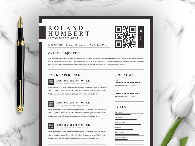 Minimal Word Resume And Cover Letter By Resume Templates On
