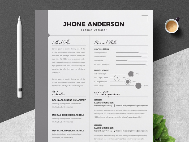 Infographic Word Resume Template By Resume Templates On Dribbble
