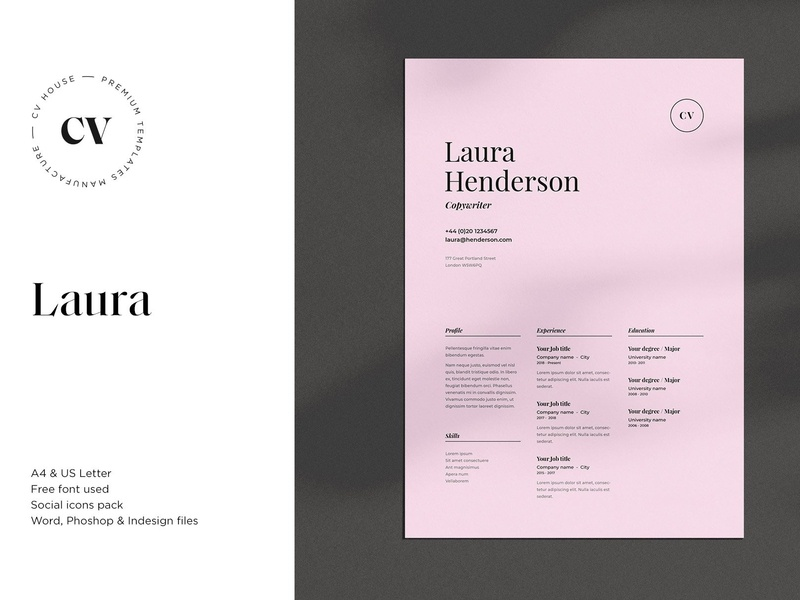 Laura Cv Resume Template By Resume Templates On Dribbble