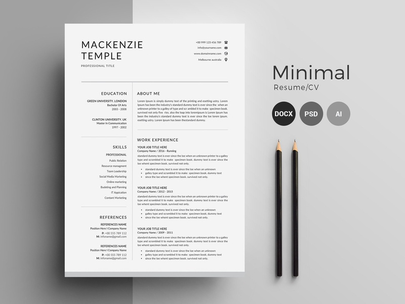 Resume Template | CV + Cover Letter by Resume Templates on ...