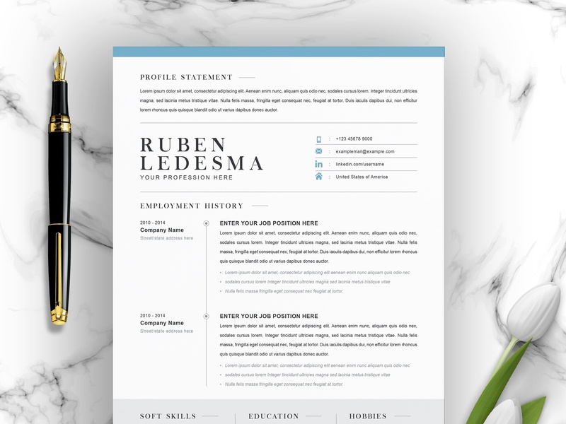 CV Template with Word Cover Letter by Resume Templates on ...